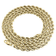 Real 10k Yellow Gold Solid Rope Chain 4mm Shiny Twist Necklace 18-30 Inches