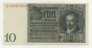 Germany 10 Reichmark 22-1-1929 Pick 180.b Unc Serie C Banknote Uncirculated