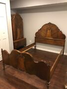 1930s Antique 3 Piece Bedroom Set Full/double Bed Armoir And Dresser W/mirror
