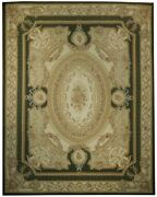 12and039 X 15and039 Green French Aubusson 17th Century Handmade Rug