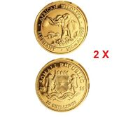 Solid Gold 999.9 Somalia African Elephant Rare 2016 Coins Pair