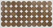 1921 Lincoln Wheat Cent Pennies 1c G - F Good To Fine Full Roll 50 Coins