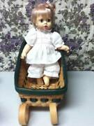 Vintage 1971 13in Ideal Blond Doll In Chip Wood Sleigh Bed