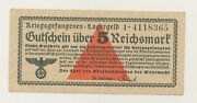 Germany 5 Reichmark 1939 Wwii Lagergeld Pick Nl Xf Banknote Circulated 365