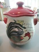 Large Canister Le Rooster By Susan Winget Certified International Cookie Jar