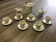 Vintage Royal Dragon Empossed 17 Piece Tea Set Hand Painted Pearl White Luster