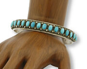 C. 1980 Navajo Tobe Turpen Trading Post Blue Turquoise .925 Silver Cuff