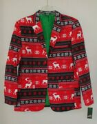 New Holiday Party Red Ugly Christmas Jacket Sweater Reindeer Mens M Medium Nwt
