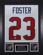 Arian Foster Autographed And Framed White Texans Jersey Auto Jsa Coa D5-s