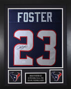 Arian Foster Autographed And Framed Blue Texans Jersey Auto Jsa Coa D4-s