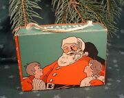 1910 Merry Christmas Holiday Santa Claus With Kids Empty Display Candy Box