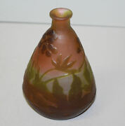 Antique Galle Cameo Art Glass Vase – Triangle Or Vial Shaped With Floral Designs