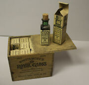 Antique Old Stock Whittemoreandrsquos Royal Glass Shoe Polish In Wooden Box