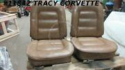 1965 Corvette Seats With Tracks    Newer Saddle Vinyl Covers  Pair