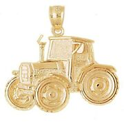 New 14k Yellow Gold Tractor Pendant