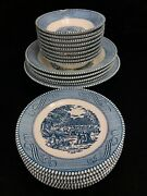 Royal Currier And Ives China 21pcs Blue Early Winter Bowls Plates Usa Porcelain