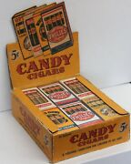 1940 / 1950and039s Vintage 24 Box Candy Cigars Paper Advertising Counter Display Case