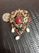 Rubies Diamonds And Pearls Set In Gold Filagree Wedding Brooch Broach Pendant