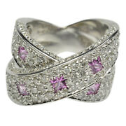 Ladies 14k White Gold Diamond And Pink Sapphire Ring 2.75cts Tcw - Size 7