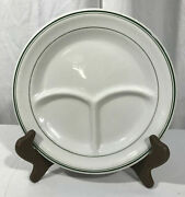 Vtg Mcnicol China Grill Plate Divided Green Stripes Resturantware 3 Sections