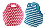 Built Ny Gourmet Getaway Lunch Tote Insulated 2 Pack Neoprene Dot Mint Pink Dots