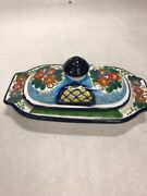 Vintage Butter Dish Lid Arle Cruz Mexico Ceramic Hand Painted 7.5 Pottery