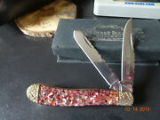 4 2 Blade Trapper Pocket Knife Bear And Bull Red Abalone Crushed Premier Edition