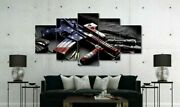 Large Size Gun With American Flag Canvas Print Home Decor Wall Art Five Piece