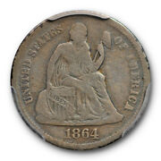 1864 10c Seated Liberty Dime Pcgs G 6 Key Date Low Mintage Pop 1