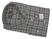 New 245 Hickey Freeman Crisp Button Front Shirt Small Muted Brown Plaid