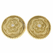 Vintage 18k Textured Green Gold Round Flower .06ct Diamond Button Style Earrings