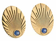Vintage Larter And Sons 14k Oval Cuff Links Yellow Gold Natural No Heat Sapphires