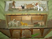 Large Antique Sgnd. Germany Wooden Noahand039s Ark 3-story Stables Stalls And Animals