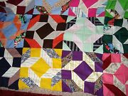 Vintage Crazy Quilt Top Approx. 86 By 80 Un-used Antique Quilt Top