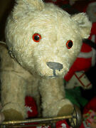 Large Antique Ride-on Mohair Teddy Bear On Iron Wheels Glass Eyes And Collar