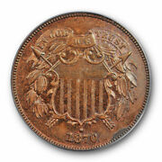 1870 2c Two Cent Piece Pcgs Pr 63 Rb Red Brown Proof Low Mintage Cert3582