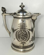 19c Rogers Smith Co. Silver Plate Enamel Ice Water Pitcher Renaissance Lady Bust