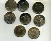 1983 D Kennedy Half Dollar Gold Plated Lot Of 8