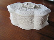 Early 1800and039s Small Embossed Unpainted Chalkware Jewelry Casket Box Container