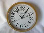Vintage 1960and039s Sunbeam 428a Gold Round Electric Wall Clock Works Large No.