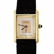 Must De Wrist Watch Manual Wind Gold Plate On Silver Tri-color Dial