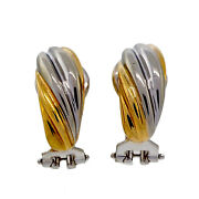 Vintage Db Twist Style 18k Yellow White Gold Clip Post Earrings