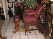 Antique Barber Chairs--kochs No.9 Wood Two Piece 1880's