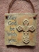 Religious Wall Plaque Resin Cast Mold Udc 2001 May God Be With You And Cross