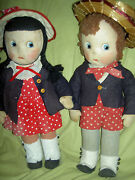 Very Rare Pair 16 Antique Mme. Alexander Susie Q And Bobby Q 1938 Cloth Dolls