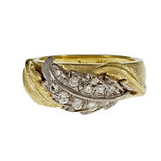 Vintage Spitzer And Furman Diamond Leaf Ring 18k Yellow Gold