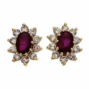 Peter Suchy Bright Red Oval Ruby Diamond Halo Earrings 14k Yellow Gold