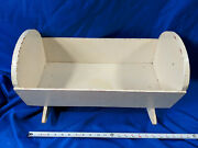 Antique Primitive Doll Baby Cradle Bed Crib Rocking White Chipped Paint Vtg 21x