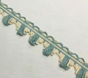 Sky Blue And Off White Noelie French Passementerie Scallop Fan Edge Trim Fringe