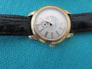 And Co Ladies 18k Gold 28 Mm Leather Band Quartz Watch Swiss Made